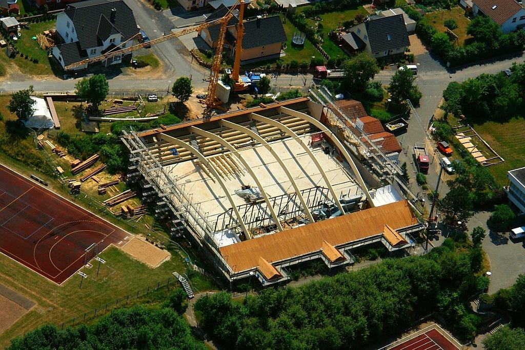 Kreissporthalle Eichenzell im Umbau Luftbild